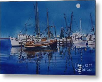 Metal Print featuring the painting Fishmoon by Karol Wyckoff