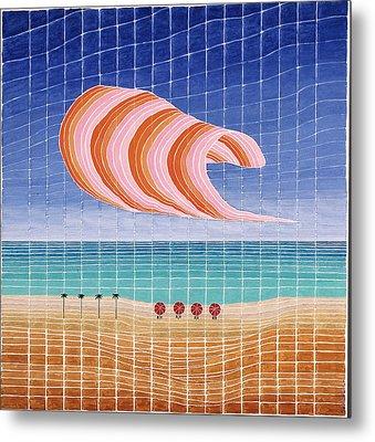 Five Beach Umbrellas Metal Print