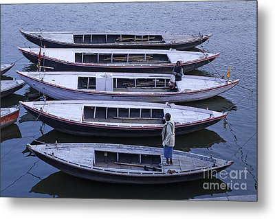 Five Boats On The Ganges Metal Print by Robert Preston