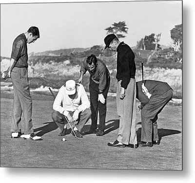Five Golfers Looking At A Ball Metal Print by Underwood Archives