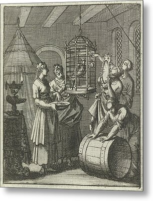 Five Handmaidens See A Magpie In A Cage, Aart Wolsgrein Jan Metal Print