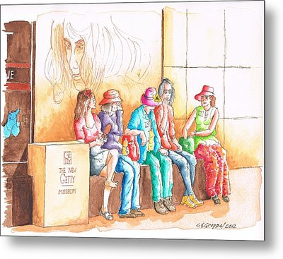 Five Ladies Talking About Art At The Getty Center Museum Los Angeles - California Metal Print by Carlos G Groppa