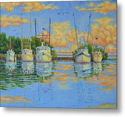 Five Low Country Boats Metal Print