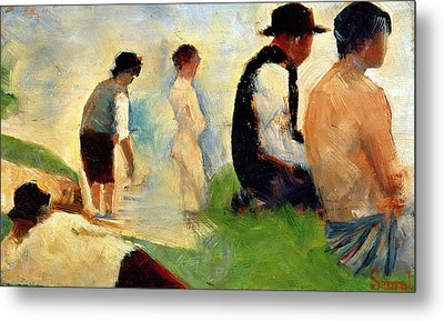 Five Male Figures Possible Preparatory Sketch For The ''bathers At Asnieres.'' Metal Print by Georges Pierre Seurat