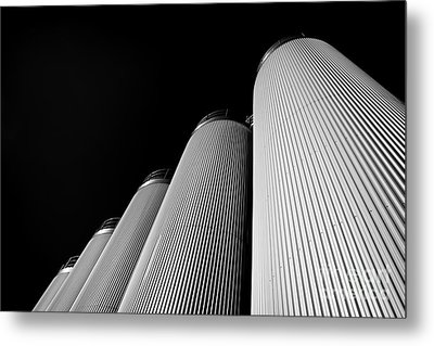 Five Silos In Black And White Metal Print