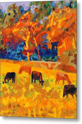 Five Texas Cows At Sunset Oil Painting By Bertram Poole Metal Print by Thomas Bertram POOLE