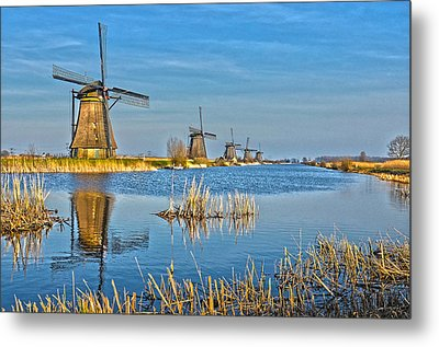 Five Windmills At Kinderdijk Metal Print