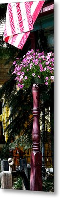 Flag And Flowers 6110 Pe Metal Print by Jerry Sodorff