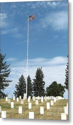 Flag At Custer National Cemetery Metal Print by Charles Robinson