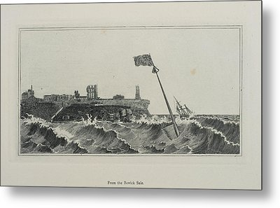 Flag Flying In A Stormy Sea Metal Print