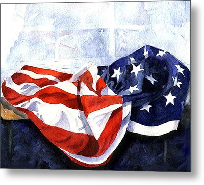 Flag In  The Window Metal Print by Suzy Pal Powell