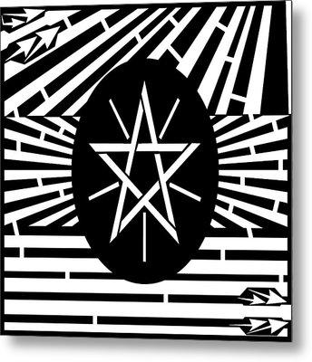 Flag Of Ethiopia Maze  Metal Print by Yonatan Frimer Maze Artist