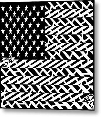 Flag Of Usa Maze Metal Print by Yonatan Frimer Maze Artist