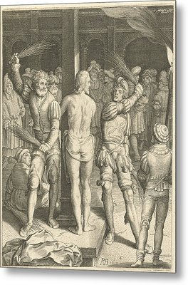 Flagellation Of Christ, Nicolaes De Bruyn Metal Print by Nicolaes De Bruyn