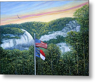 Flags At Sunset Metal Print by Fran Brooks