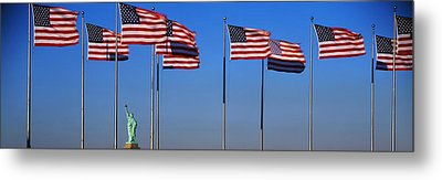 Flags New York Ny Metal Print by Panoramic Images