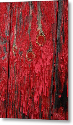 Flaking Red Paint On Old Shed. Metal Print