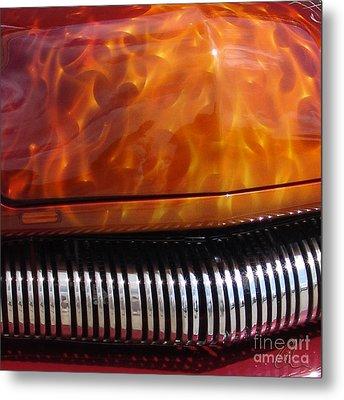 Flame Rod 1 Squared Metal Print by Chris Thomas