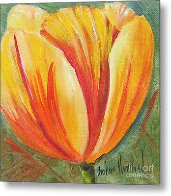 Flame Tulip By Barbara Haviland Metal Print