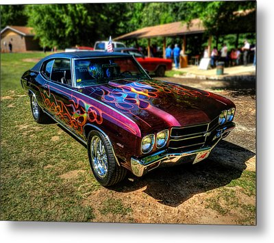 Flamed '70 Chevy Malibu 001 Metal Print by Lance Vaughn