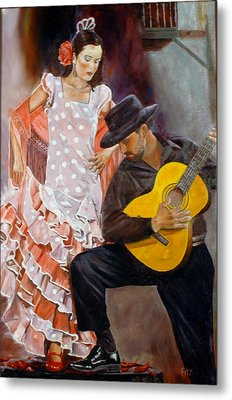 Metal Print featuring the painting Flamenco Charm by Rick Fitzsimons