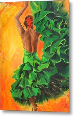 Metal Print featuring the painting Flamenco Dancer In Green Dress by Sheri  Chakamian
