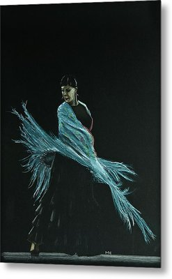 Flamenco Dancer In Shawl Metal Print by Martin Howard