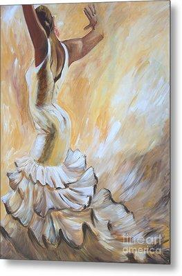 Flamenco Dancer In White Dress Metal Print by Sheri  Chakamian