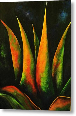 Flaming Aloe Metal Print by Migdalia Bahamundi