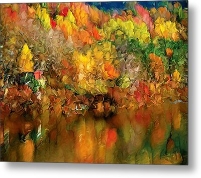 Flaming Autumn Abstract Metal Print by Georgiana Romanovna