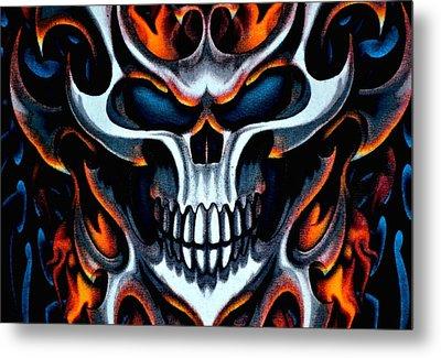 Flaming Skull Metal Print