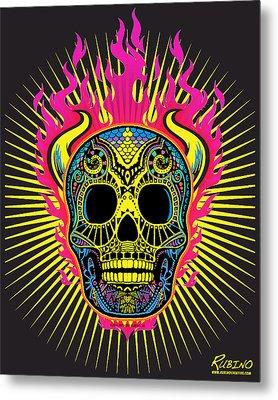 Flaming Skull Metal Print by Tony Rubino