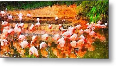 Flamingo Gathering Metal Print