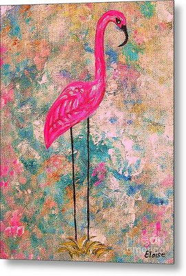 Flamingo On Pink And Blue Metal Print by Eloise Schneider