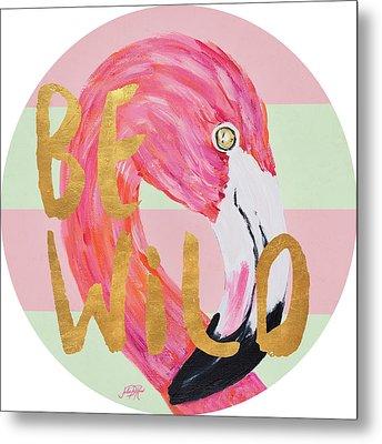 Flamingo On Stripes Round Metal Print by Julie Derice