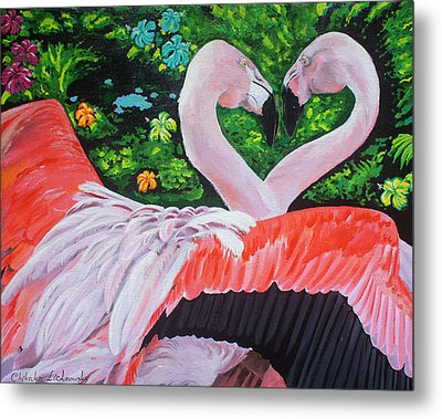 Flamingo Paradise Metal Print by Chikako Hashimoto Lichnowsky