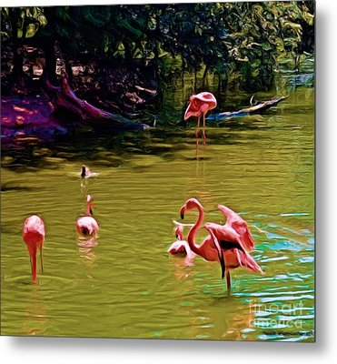 Flamingo Party Metal Print by Luther Fine Art