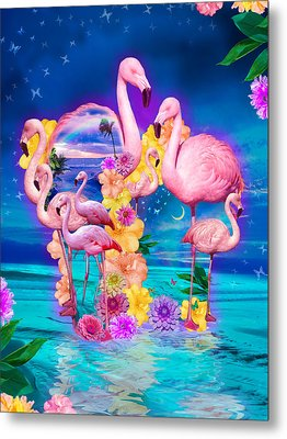 Flamingo Shape Wbackground Metal Print