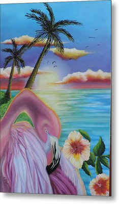 Metal Print featuring the painting Flamingo Sunset by Dianna Lewis