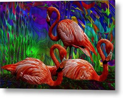 Flamingo Trio II Metal Print