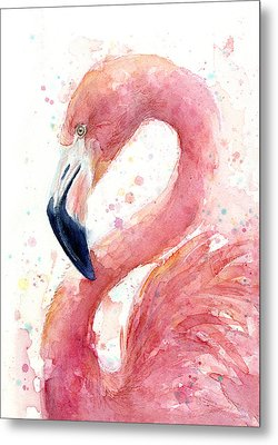Flamingo Watercolor Painting Metal Print by Olga Shvartsur
