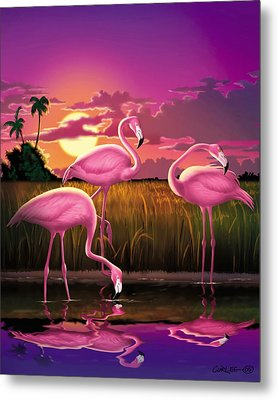 Flamingoes Flamingos Tropical Sunset Landscape Florida Everglades Large Hot Pink Purple Print Metal Print by Walt Curlee