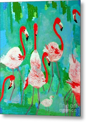 Flamingos 1 Metal Print by Vicky Tarcau
