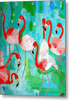 Flamingos 2 Metal Print by Vicky Tarcau