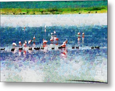 Flamingos And Ducks Painting Metal Print by George Fedin and Magomed Magomedagaev