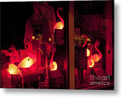 Metal Print featuring the photograph Flamingos On Market Street by Tom Doud