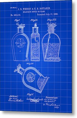 Flask Patent 1888 - Blue Metal Print