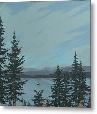 Flathead Sailboat Metal Print by John Wyckoff