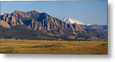 Flatirons And Snow Covered Longs Peak Panorama Metal Print