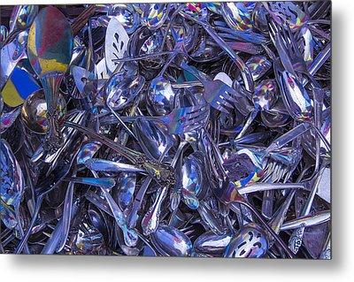Flea Market Silver Metal Print